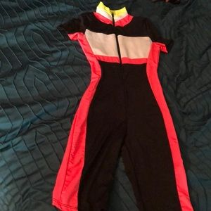 Neon colored body suit